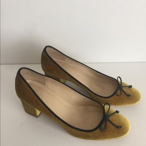 Golden color shoes